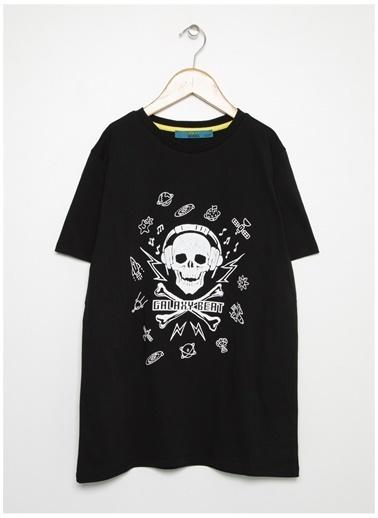 Funky Rocks Funky Rocks Erkek Bisiklet Yaka BaskılıSiyah T-Shirt Siyah